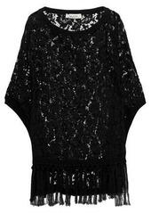 Valentino Woman Tassel-trimmed Cotton Corded Lace Poncho Black