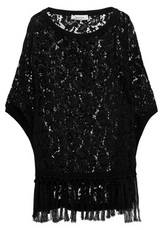 Valentino Woman Tassel-trimmed Cotton Corded Lace Poncho Black