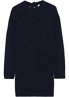 Valentino Woman Tie-back Ribbed Cashmere Sweater Midnight Blue