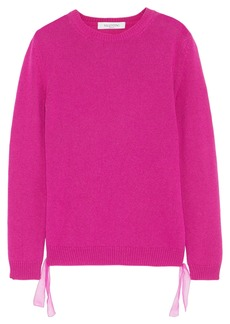 Valentino Woman Tie-detailed Cashmere Sweater Fuchsia
