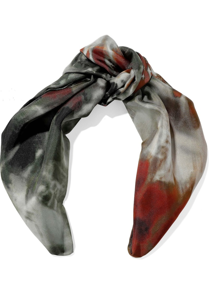 Valentino Woman Tie-dyed Silk-satin Twill Scarf Multicolor