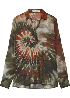 Valentino Woman Tie-dyed Cotton-voile Shirt Army Green