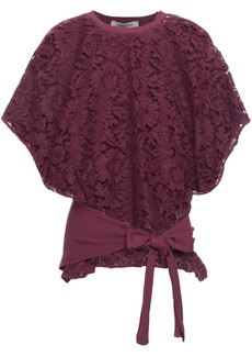 Valentino Woman Tie-front Corded Lace And Stretch-jersey Top Grape
