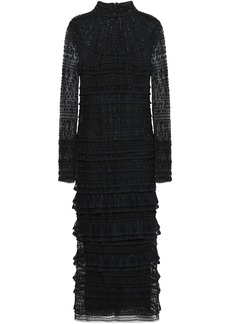Valentino Woman Tiered Embellished Silk-tulle And Lace Midi Dress Black
