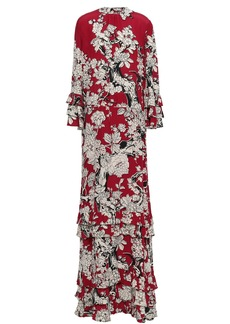 Valentino Woman Tiered Floral-print Silk Crepe De Chine Gown Claret