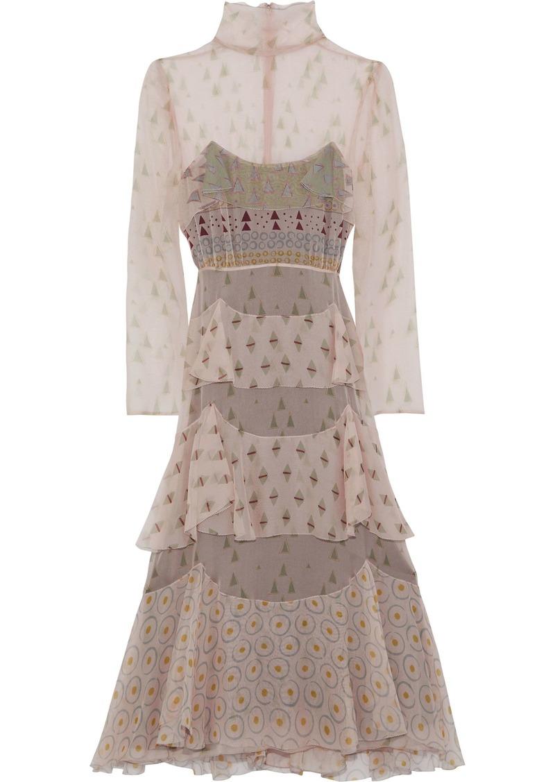Valentino Woman Tiered Printed Silk-chiffon Midi Dress Pastel Pink