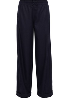 Valentino Woman Wool And Cashmere-blend Twill Wide-leg Pants Midnight Blue