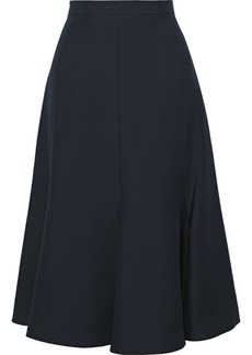 Valentino Woman Flared Wool And Silk-blend Cady Skirt Midnight Blue