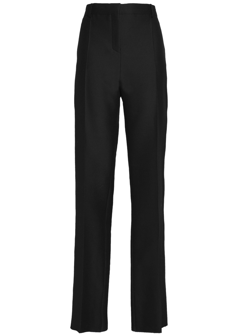 Valentino Woman Wool And Silk-blend Canvas Straight-leg Pants Black