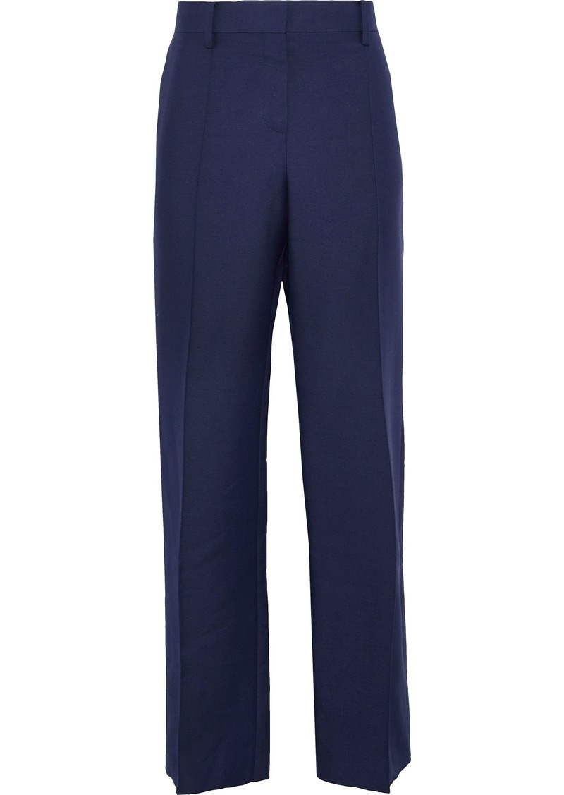 Valentino Woman Wool And Silk-blend Straight-leg Pants Indigo