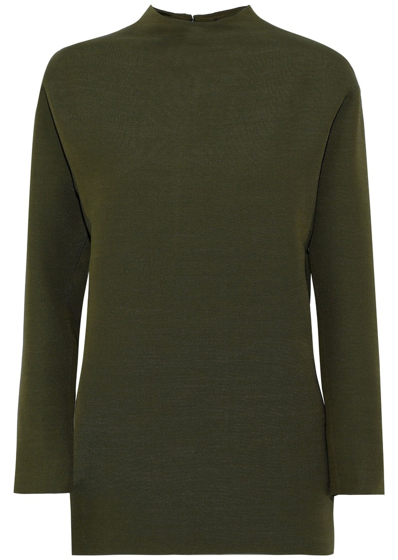 Valentino Woman Wool And Silk-blend Top Army Green