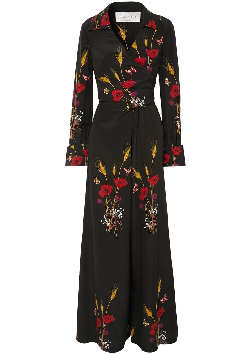 Valentino Woman Wrap-effect Printed Silk-georgette Jumpsuit Black