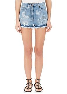 Valentino Women's Butterfly Appliqué Denim Shorts
