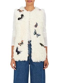 Valentino Women's Butterfly-Appliquéd Shearling Vest
