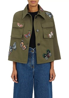 Valentino Women's Butterfly Beaded Cotton Twill Cape