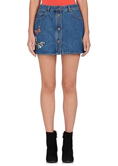 Valentino Women's Butterfly-Embellished Denim Miniskirt