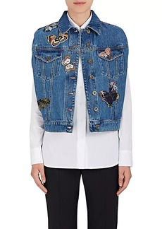 Valentino Women's Butterfly-Embroidered Denim Cape