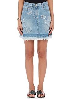 Valentino Women's Butterfly-Embroidered Denim Miniskirt