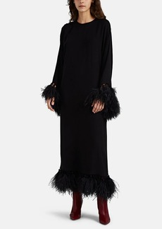 Valentino Women's Feather-Embellished Stretch-Silk Gown