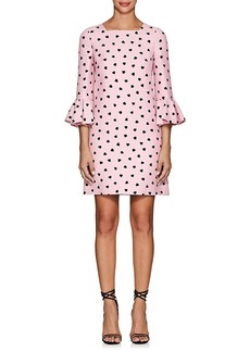 Valentino Women's Heart-Print Wool-Silk Flounce-Sleeve Shift Dress