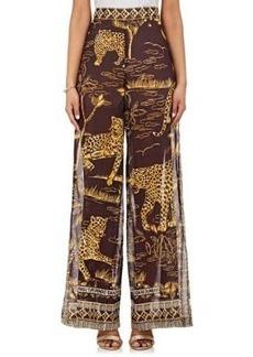 Valentino Women's Jaguar-Print Cotton Wide-Leg Pants