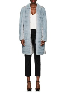 Valentino Women's Lace-Inset Mink Fur Coat