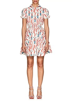 Valentino Women's Lipstick-Print Cotton Shirtdress