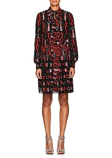 Valentino Women's Lipstick-Print Silk Shirtdress