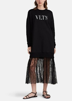 Valentino Women's Logo Lace-Hem Sweatshirt Dress