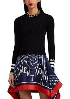 Valentino Women's Logo-Pattern Striped Rib-Knit Crop Top