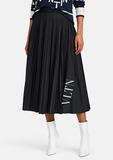 Valentino Women's Logo Pleated Midi-Skirt