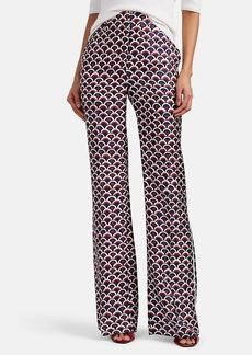 Valentino Women's Logo-Print Silk Wide-Leg Trousers