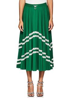 Valentino Women's Pleated Tech-Jersey Midi-Skirt