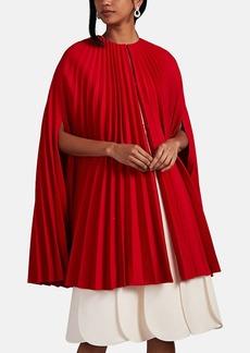 Valentino Women's Pleated Virgin Wool Cape Dress