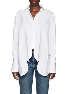 Valentino Women's Scalloped-Hem Cotton Crop Blouse