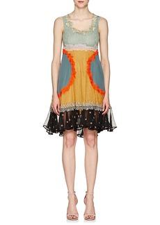 Valentino Women's Silk Mixed-Media Trapeze Dress