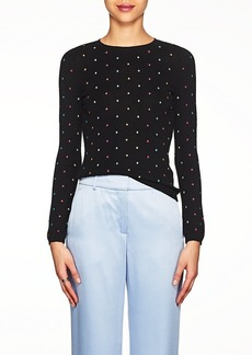 Valentino Women's Star-Embroidered Compact-Knit Cotton Sweater