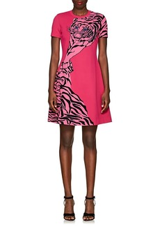 Valentino Women's Tiger-Pattern Rib-Knit Dress
