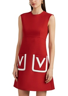 "Valentino Women's ""V""-Detailed Wool-Silk Sheath Dress"