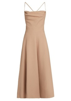 Valentino Wool and silk-blend crepe midi dress