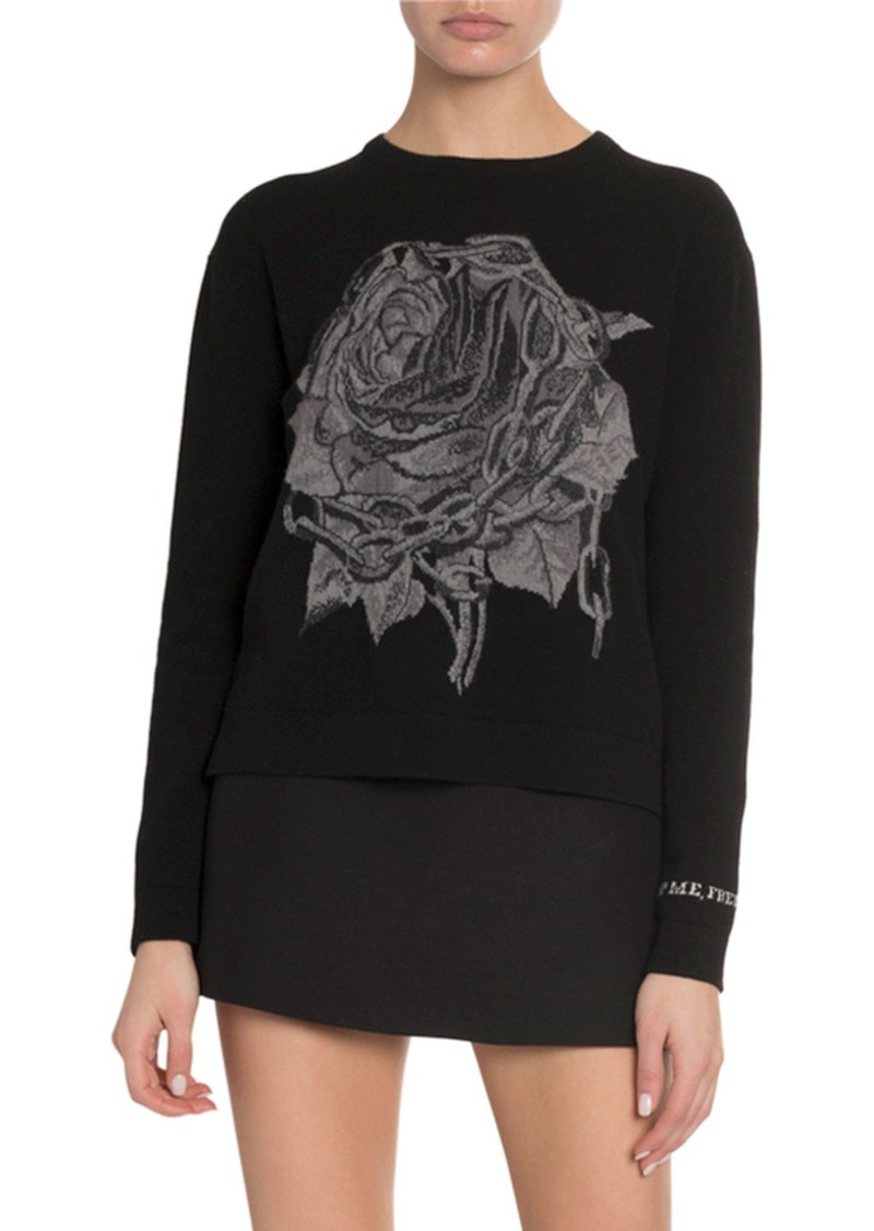 Valentino Wool-Cashmere Chain Rose Inlay Sweater