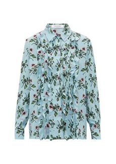 Valentino X Undercover lip floral-print silk-crepe blouse