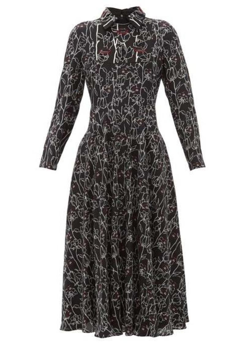 Valentino X Undercover lip floral-print silk dress