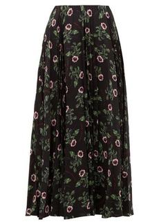 Valentino X Undercover lip floral-print silk midi skirt