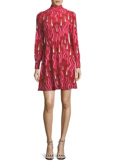 Valentino Zandra Mock-Neck Long-Sleeve Crepe de Chine Lipstick-Print Dress
