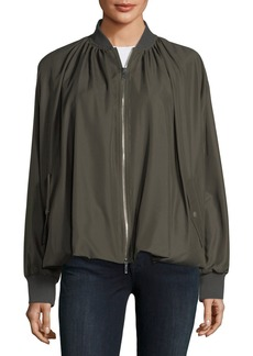 Valentino Zip-Front Bubble-Hem Silk Bomber Jacket