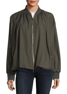 Zip-Front Bubble-Hem Silk Bomber Jacket