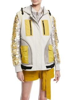 Valentino Zip-Front Colorblock Hip-Length Cotton Vest