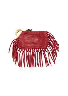 Valentino Zodiac Fringe Leather Clutch Bag