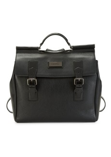 Valentino Victor Pebbled-Leather Messenger Backpack